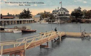 Bath Maine New Meadows Inn and Boat Club Landing Antique Postcard J51056