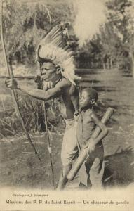 east africa, Native Gazelle Hunter, Scarification (1920s) Mission