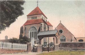 SHEERNESS KENT UK MINSTER CHURCH POSTCARD 1906 DOUBLE CIRCLE POSTMARK