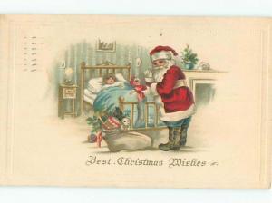 Pre-Linen Christmas SANTA CLAUS WEARING BLUE PANTS AB4585