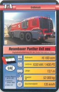Super Trumpf 6x9cm mechanic tradecard Rosenbauer Panther 8x8 Dubai airport