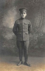 RPPC WWI-Era Soldier Military Uniform c1910s Vintage Postcard