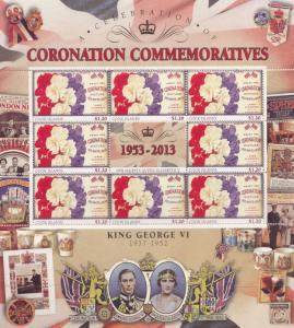 King George VI Cook Islands Royal Coronation Rare Mint Stamp Block Sheet