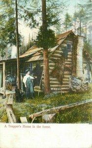 C-1910 Frontier Life Log Cabin Trapper Spokane  #5222 Postcard 20-1194