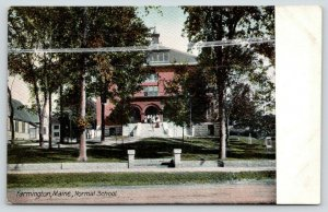 Farmington Maine~Normal School Teachers College~Students Gathered on Steps~c1910