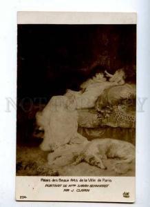 182509 Sarah BERNHARDT Actress BORZOI by CLAIRIN Vintage PC