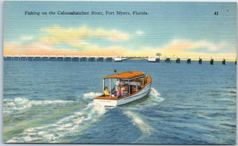 Fort Myers, Florida Postcard Fishing on the Caloosahatchee River Tichnor Linen