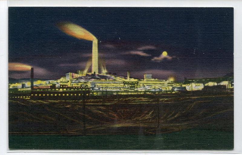 ACM Smelter Co At Night Anaconda Montana linen postcard