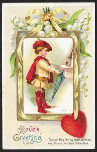 Loves Greeting Fancy Dressed Boy Umbrella & Flowers Used c1912