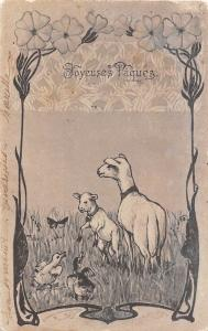 Joyeuses Paques Easter! Sheeps Lambs Ducks Butterfly Flowers Greetings