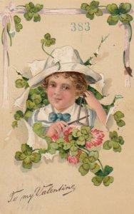 VALENTINE, PU-1908; Boy playing triangle, four-leaf clovers, PFB 5771