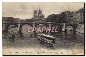 Old Postcard Paris Ile Saint Louis on Quai d'Orleans and Notre Dame