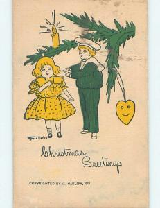 Pre-Linen signed GRACE HARLOW - KIDS BY OLD-FASHIONED CHRISTMAS TREE hk9910