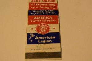 The American Legion Cicero Post No. 96 Illinois 20 Strike Matchbook Cover