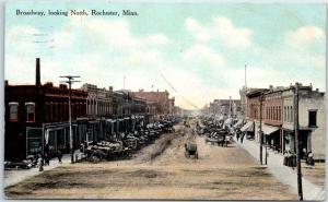 Rochester, Minnesota Postcard Broadway, Looking North Downtown Scene 1911