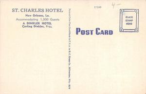 New Orleans Louisiana~St Charles Hotel & Street View @ Night~Trolleys~1940s Pc