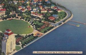 Florida Jacksonville Memorial Park & St John's River Curteich