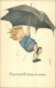 Charles Twelvetrees Boy Carried Away by Umbrella in Rain c1910 Postcard