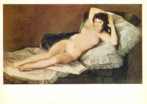 Postcard art soviet chyrillic text woman in bed naked