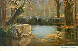 Enrique Serra Campagna Romana faeries vintage postcard autumnal lake landscape