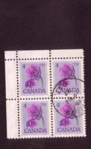 Canada Corner Block of Four Used Stamps, Floral Definitive 4 Cents, Scott #709