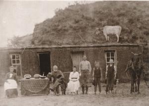 Sod Ranchers Sod House of Nebraska Bricks circa 1870 Western USA - Recent Print