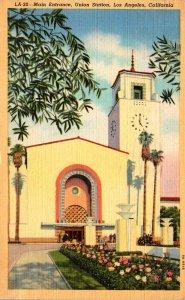 California Los Angeles Union Station Main Entrance 1944 Curteich