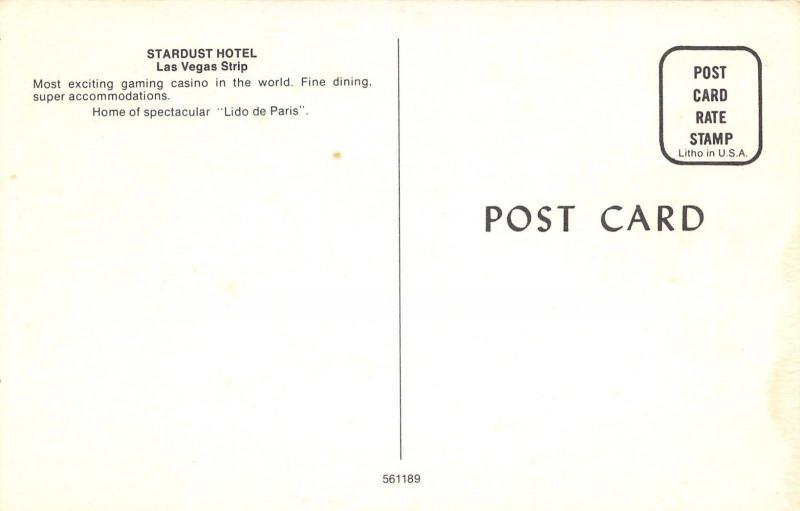 Las Vegas Nevada~Stardust Hotel~Night Lights~1960s Postcard