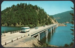 Idaho Blue Bay Bridge LAKE COEUR D' ALENE in the North with older bus1950s-1970s