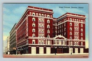 Decatur IL-Illinois, Hotel Orlando, Advertising Linen Postcard