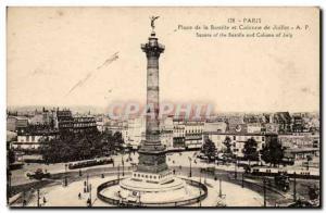 Paris Old Postcard Place de la Bastille and the July Column