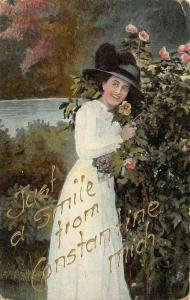 Just a Smile from Constantine Michigan~Lovely Victorian Lady~Flower Bush 1910