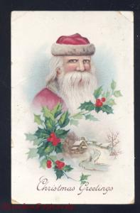 ANTIQUE VINTAGE CHRISTMAS POSTCARD SANTA CLAUS PINK ROBE GELCOAT POSTCARD