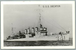 MILITARY SHIP U.S.S. DECATUR VINTAGE REAL PHOTO POSTCARD RPPC