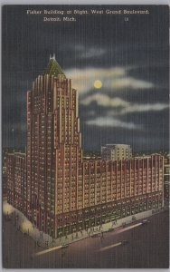 Detroit, Mich., Fisher Building at night, West Grand Boulevard -
