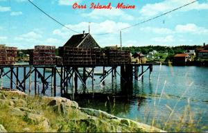Maine Orrs Island Lobster Traps On Pier