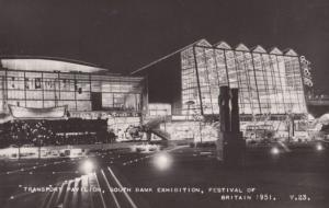 Festival Of Britain Illuminations at Night London Southbank Real Photo Postcard