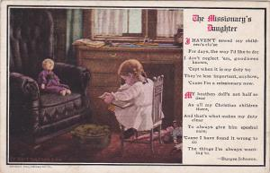 The Missionary's Daughter , Child reading to her doll, Poem by Burges Johns...