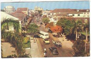 Busy little Bay Street, main street of Nassau in the Bahamas, 40-60s