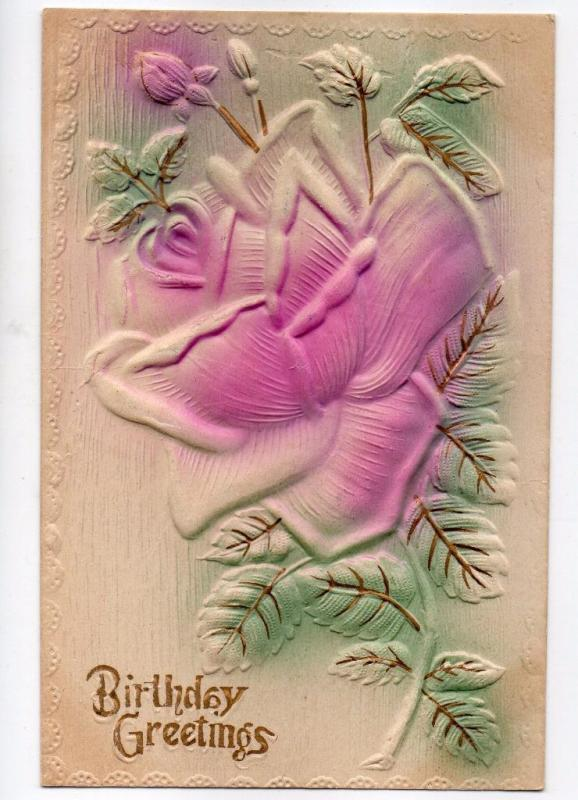 Pretty Heavily Embossed Birthday Rose Vintage c1910 Postcard