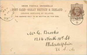 Entier Postal Stationery Postal Great Britain Great Britain 1885 London to Ph...