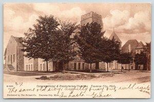 Traverse City Michigan~Congregational & Presbyterian Church Corner~Hobart 1907