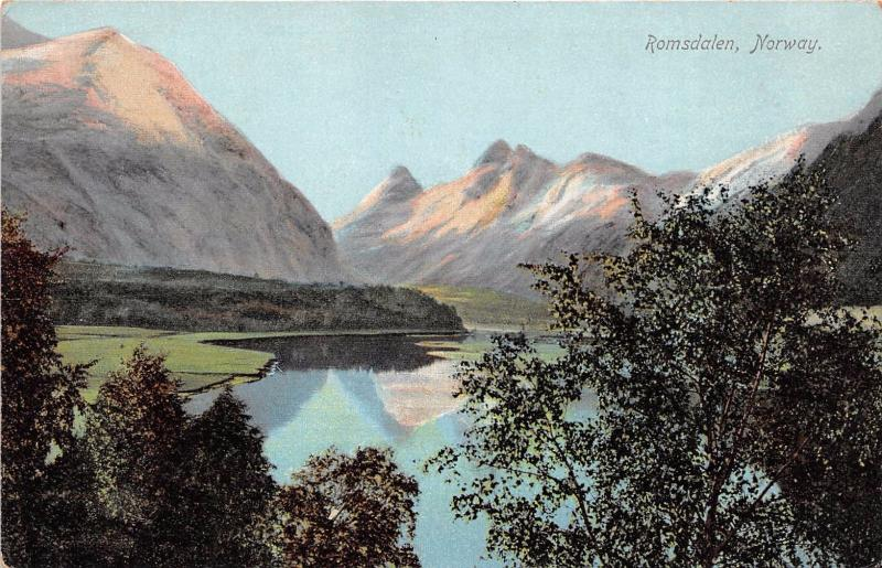 ROMSDALEN NORWAY NORGE LAKE & MOUNTAINSPOSTCARD 1910s