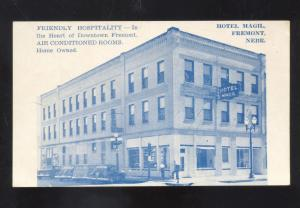 FREMONT NEBRASKA HOTEL MAGIL OLD CARS VINTAGE ADVERTISING POSTCARD