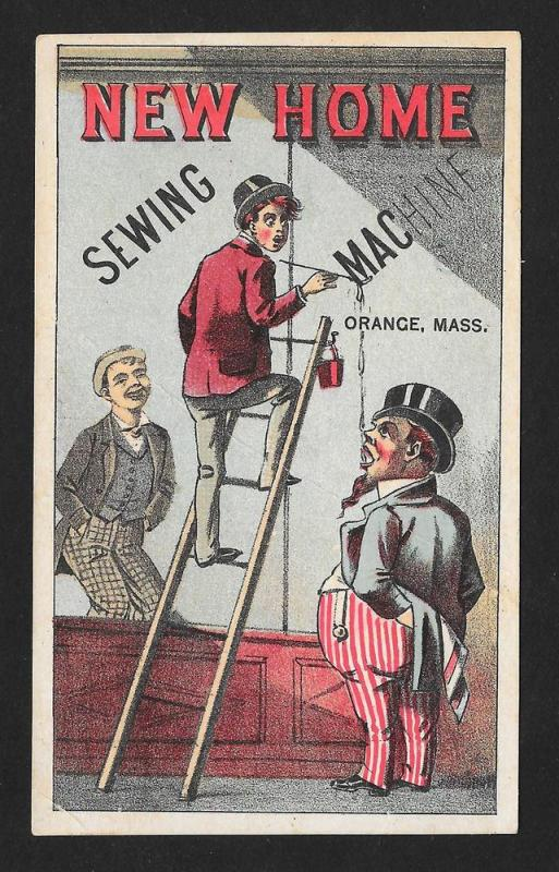 VICTORIAN TRADE CARD New Home Sewing Machine Climbing Ladder