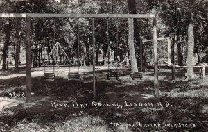 LPS62 Lisbon North Dakota Park Play Ground Postcard RPPC