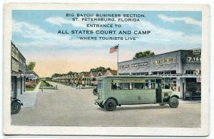 All States Court Camp Tourist Bus St Petersburg Florida 1920s postcard