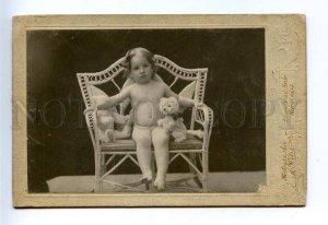 163920 NIKOLAYEV Girl White TEDDY BEAR vintage CABINET PHOTO