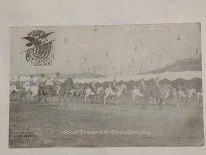 Postcard US Army Military Tournament Cavalry Exhibition C1908 St Joseph MO 1044