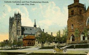 UT - Salt Lake City. Catholic Cathedral & First Presbyterian Church